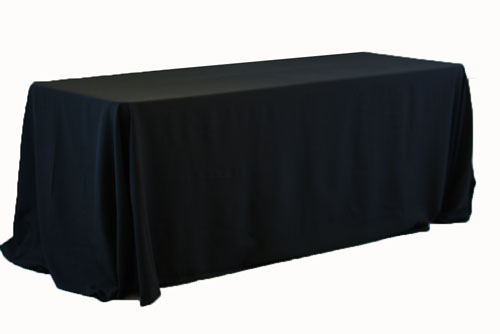 "Black Table Cloth, Banquet, 72"" x 120"" Polyester seemless."